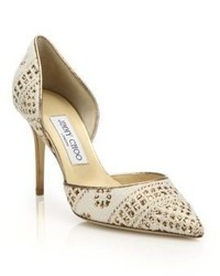 Jimmy Choo Addison 85 Woven Fabric Metallic Leather Dorsay Pumps
