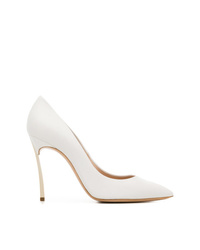 6e89ff4347 Women's White Leather Pumps by Casadei | Women's Fashion | Lookastic.com