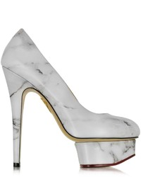 Charlotte Olympia Dolly White Marble Print Leather Platform Pump