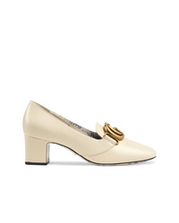 Gucci Leather Mid Heel Pump With Double G