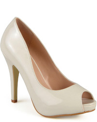 Journee Collection Lowis Peep Toe Patent Pumps