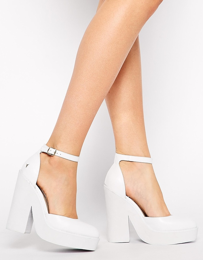 0b28276c9f2 $181, Windsor Smith Pow White Leather Ankle Strap Heeled Shoes
