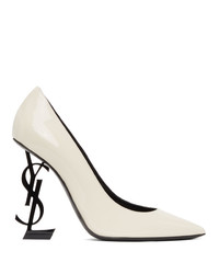 Saint Laurent White And Black Patent Opyum Heels