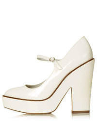 Topshop White Leather Look Chunky Platforms With Rounded Toe And Ankle Fastening Heel Height 5 100% Polyurethane