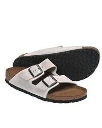 Birkenstock Arizona Soft Footbed Sandals Leather White Sand Suede