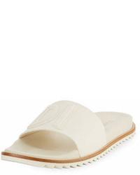 Fendi Rubber Slide Sandals W Raised Logo Detail