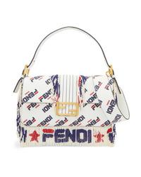 Fendi Baguette Bead Embellished Printed Leather Shoulder Bag