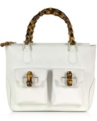 Buti Front Pockets White Leather Satchel Bag W Bamboo Handles