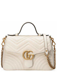 Gucci Gg Marmont Small Chevron Quilted Top Handle Bag With Chain Strap