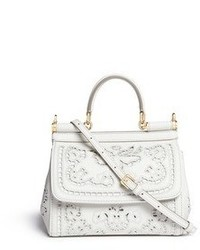 Nobrand Miss Sicily Small Embroidery Leather Satchel