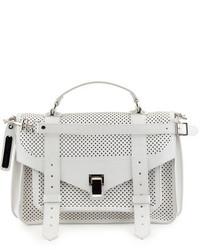 Proenza Schouler Ps1 Medium Perforated Leather Satchel Bag Optic White
