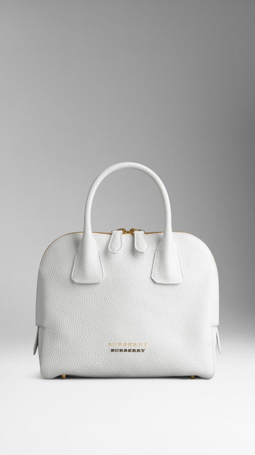 5b3f54bd6531 ... White Leather Satchel Bags Burberry Small Grainy Leather Bowling Bag ...
