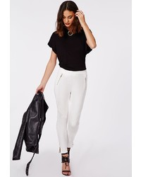 Missguided Bertha Faux Leather Biker Trousers White