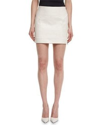 Tom Ford Crocodile Embossed Leather Mini Skirt Chalk