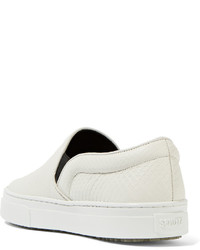 Schutz Amisha Snake Effect Leather Slip On Sneakers