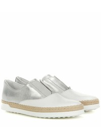 Tod's Francesina Metallic Leather Slip On Sneakers