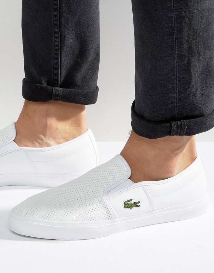 89ccba18f ... Lacoste Gazon Leather Slip On Sneakers ...
