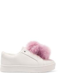 Sam Edelman Leya Faux Fur Trimmed Leather Slip On Sneakers White
