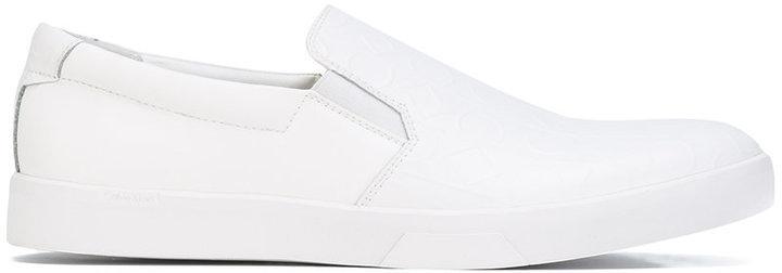 Calvin Klein Logo Embossed Slip On Sneakers