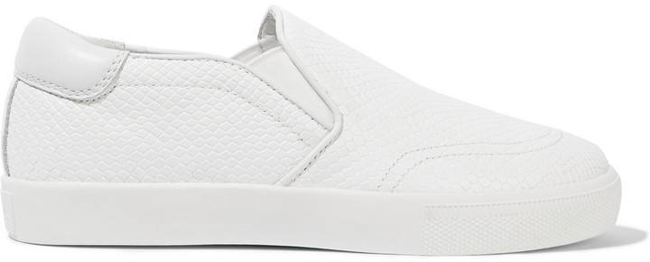 Ash Textured Leather Slip On Sneakers