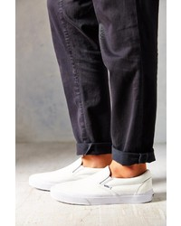 vans classic white perforated leather slip on