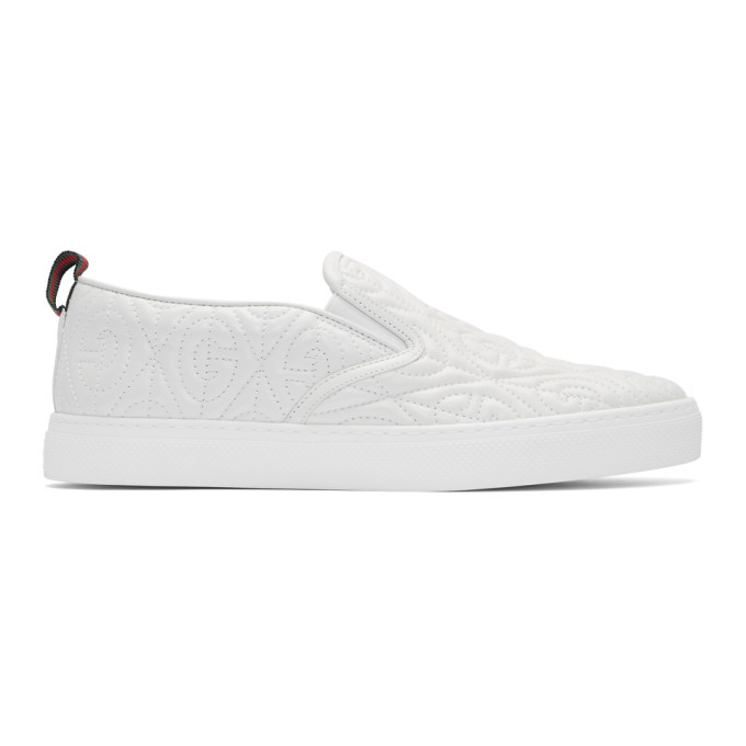 Gucci White G Rhombus Slip On Sneakers