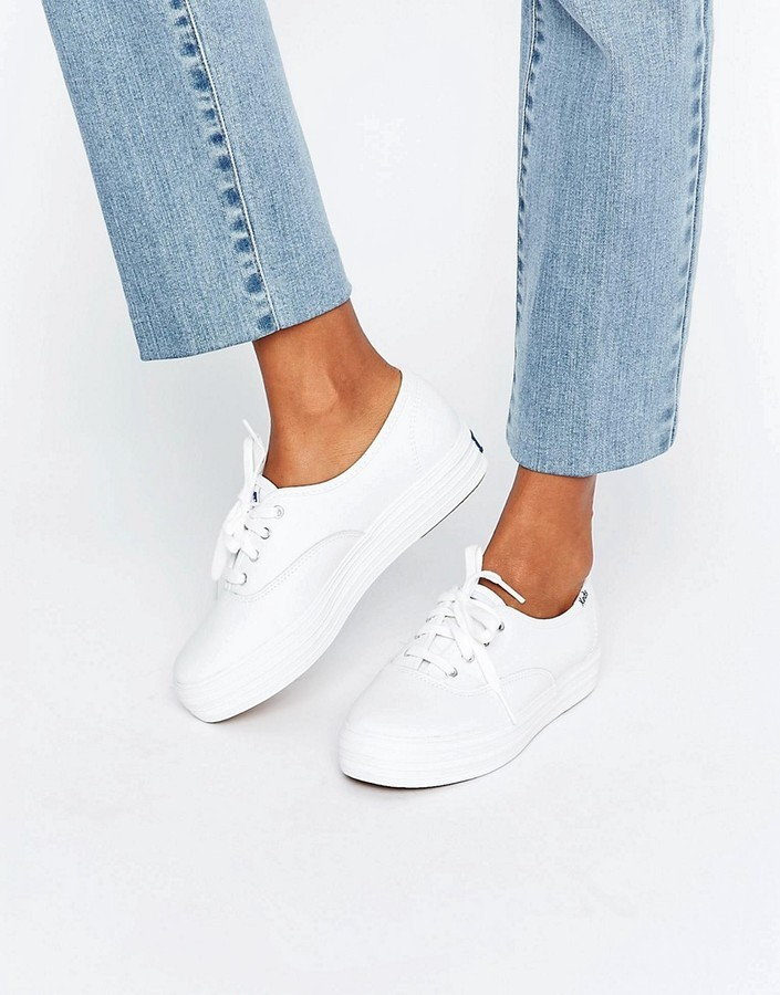 80fbb1eed4c ... White Leather Sneakers Keds Classic Leather Platform Sneakers ...