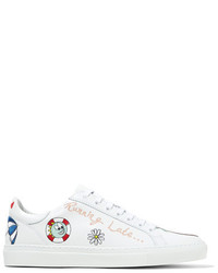 Mira Mikati Embroidered Leather Sneakers White
