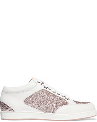 Jimmy Choo Miami Glitter Paneled Leather Sneakers White