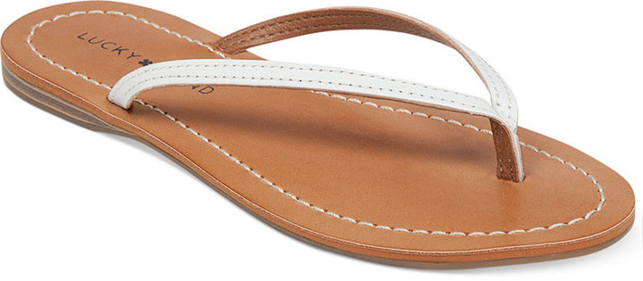 ada66b02f90ac1 ... White Leather Thong Sandals Lucky Brand Amberr Flip Flops ...