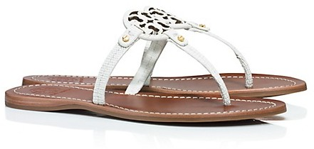 04cf7a801b9d6b Mini Miller Flat Thong Sandals. White Leather Thong Sandals by Tory Burch