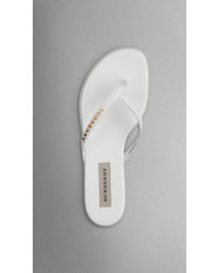 Burberry Patent London Leather Flip Flops