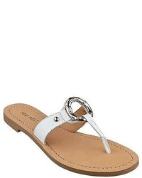 Nine West Sibeal White Leather Thong Sandals 60311790 L15