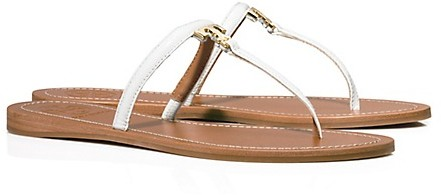 ef8fef74521355 T Logo Flat Thong Sandals. White Leather Thong Sandals by Tory Burch