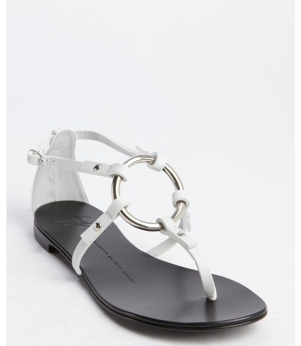 Giuseppe Zanotti White Leather O Ring Flat Sandals | Where to buy ...