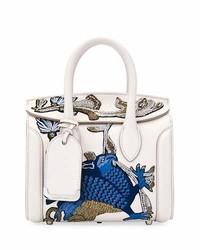 Alexander McQueen Heroine 21 Mini Matte Calf Embroidered Tote Bag Off White