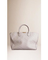 Burberry Medium Embossed Check Leather Tote Bag