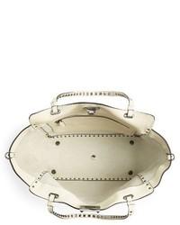 Valentino Medium Rockstud Vitello Leather Tote Ivory