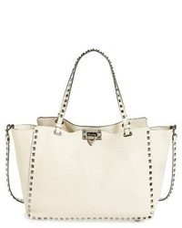 Valentino Medium Rockstud Vitello Leather Tote Ivory