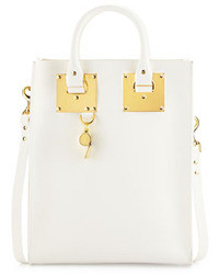 Sophie Hulme Mini Buckled Leather Tote Bag White