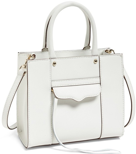 Mini Mab Tote Crossbody Bag White Leather By Rebecca Minkoff