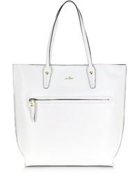 Hogan Print Basic White Leather Tote Bag