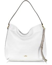 Hogan Print White Taupe Leather Hobo Bag
