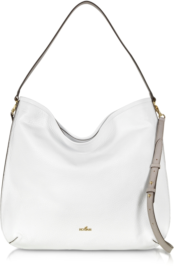 Hogan Print White Taupe Leather Hobo Bag | Where to buy & how to wear