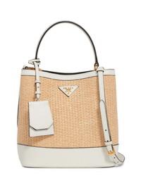 Prada Raffia Leather Double Bucket Bag