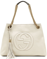 Gucci Soho Leather Medium Chain Strap Tote White