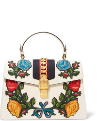 Gucci Sylvie Medium Chain Embellished Appliqud Leather Tote Off White