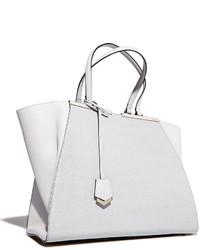a177bf1b73 ... Fendi Trois Jour Grande Leather Tote Bag White
