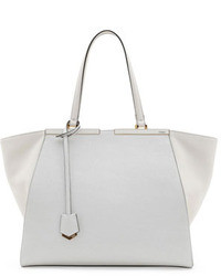 Fendi Trois Jour Grande Leather Tote Bag White