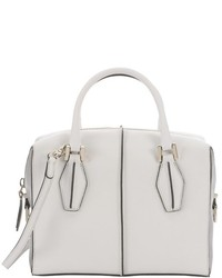 Tod's White And Grey Leather Structured D Cube Tote Bag